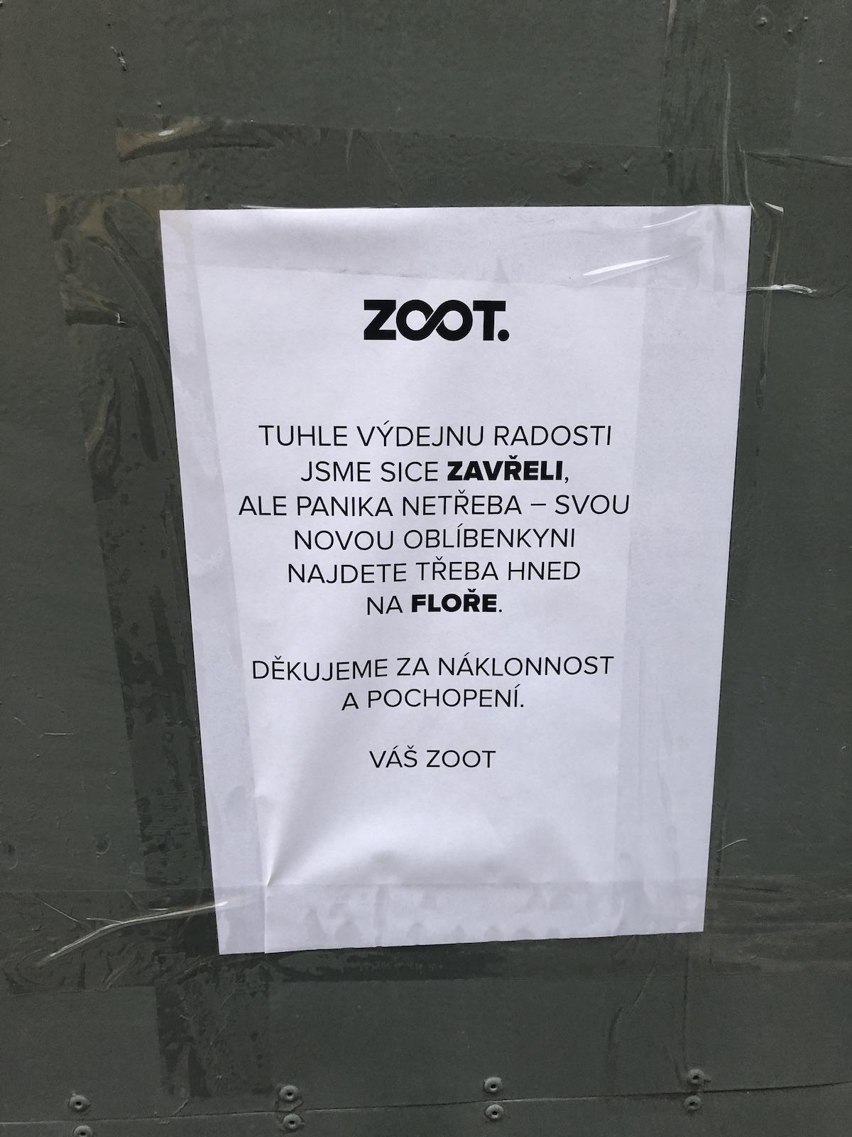 Zavřená výdejna Zootu v pražské Mánesově ulici