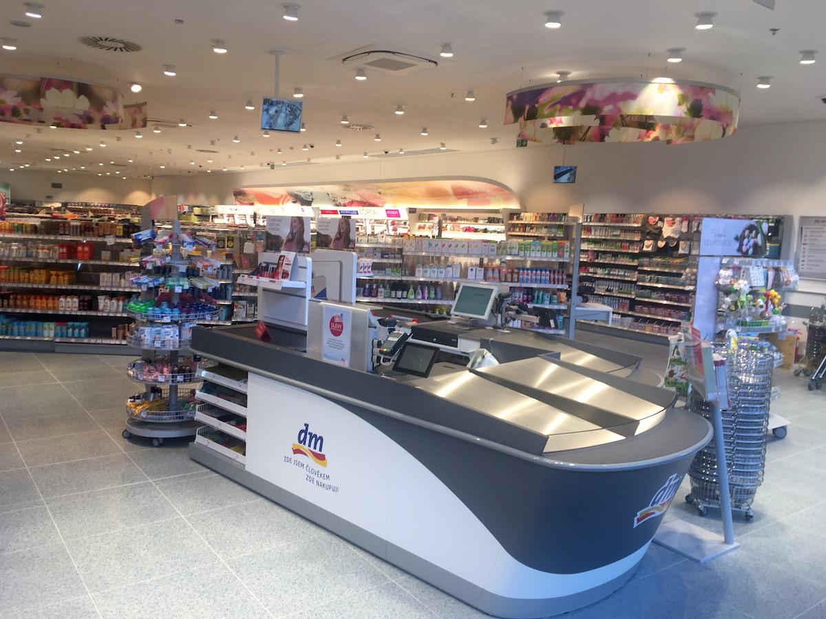 Modernizovaná prodejna Dm vOlympia Centru vMladé Boleslavi