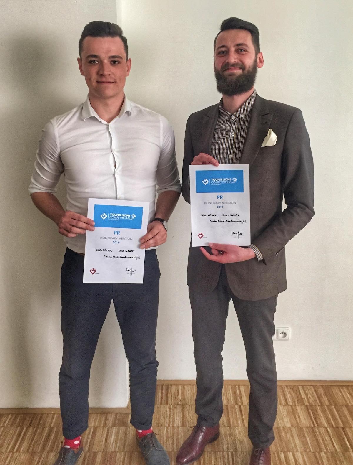 Čestné uznání dostali Josef Slavíček (Madesense.digital) a Jakub Křenek (Adison)
