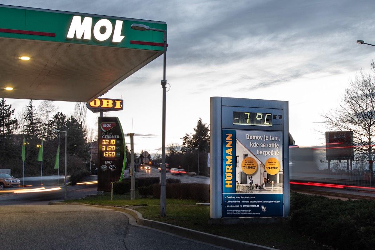 Plochy společnosti Teploměry zahrnují reklamní panel i informační část s údaji o aktiuální teplotě