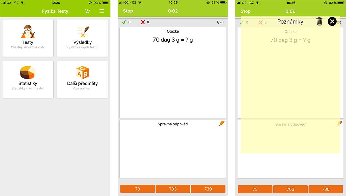 Při řešení příkladů si mohou žáci pomoct i poznámkami v aplikaci