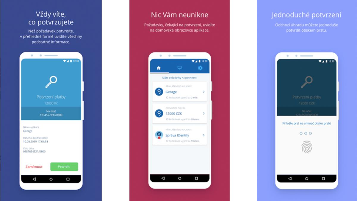 Aplikace George klíč nabízí kromě pinu biometrické potvrzení plateb