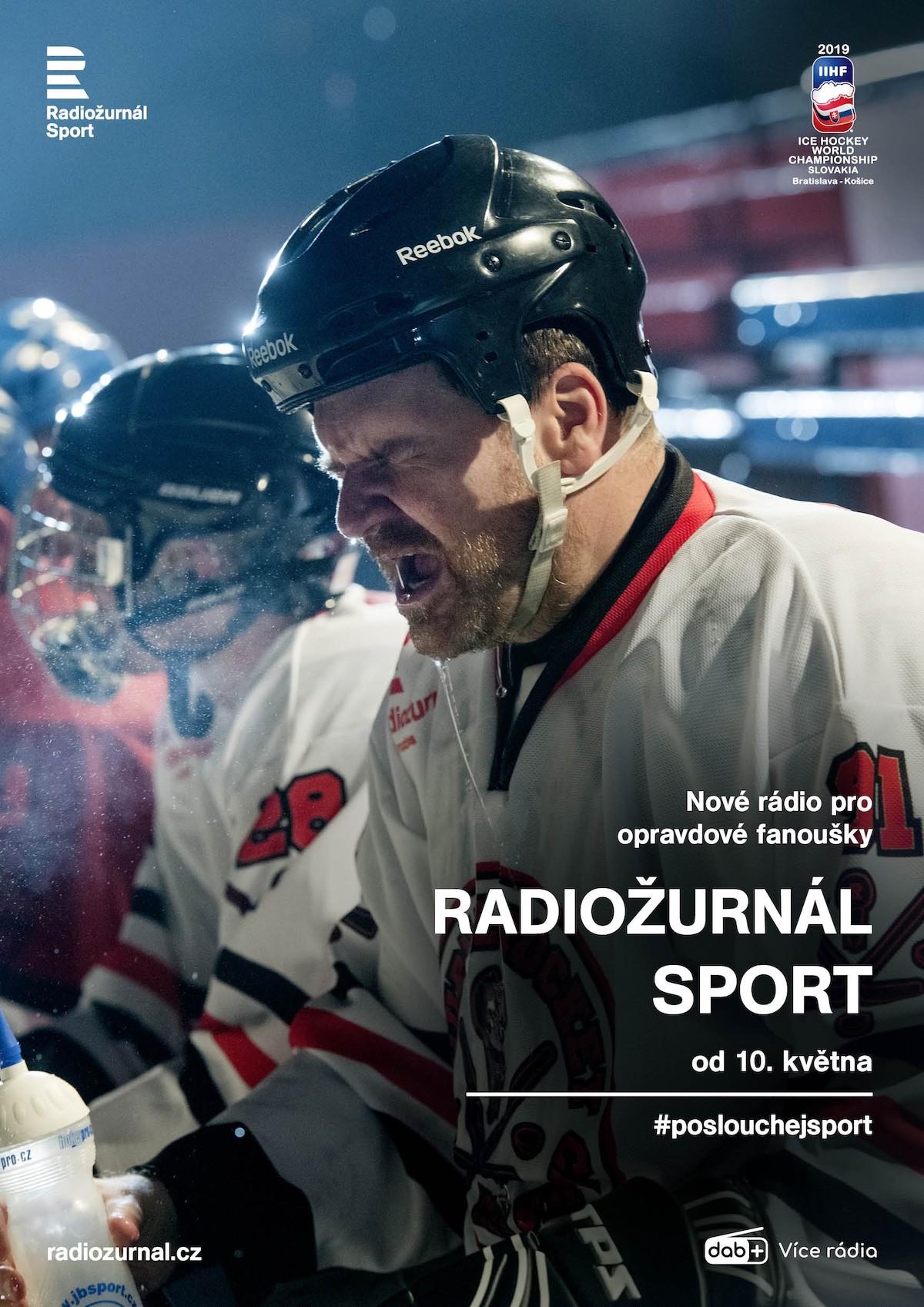 Propagační plakát nové stanice Radiožurnál Sport