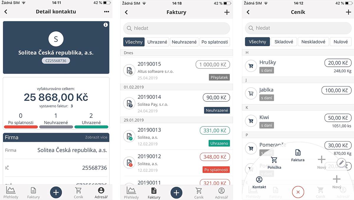 V iDokladu může uživatel sledovat všechny přijaté a vydané faktury. Při propojení s bankou získá přehled i o jejich proplacení