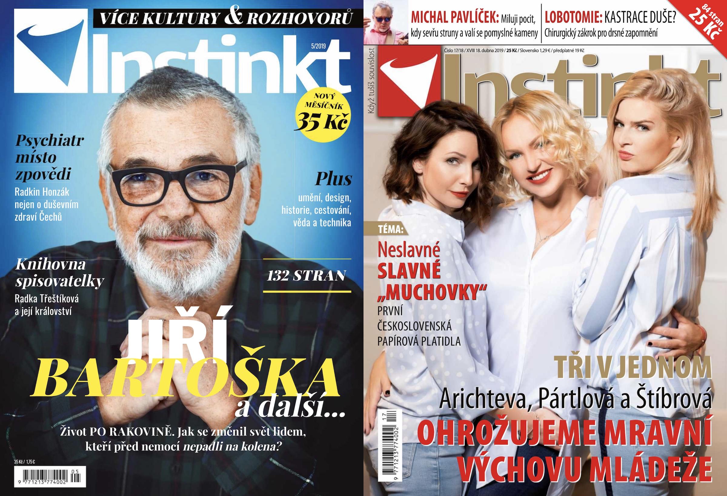 Vlevo první vydání Instinktu coby měsíčníku, vpravo poslední týdeníkové vydání