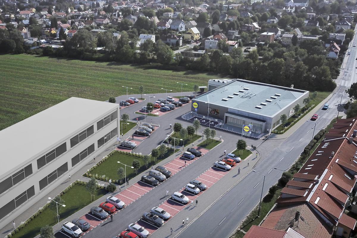 Vizualizace prodejny Lidlu v Praze-Čakovicích