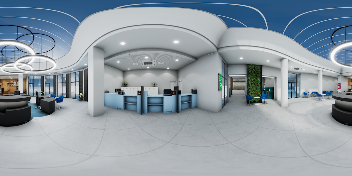 Aplikace zobrazuje novou podobu poboček ve virtuální reality