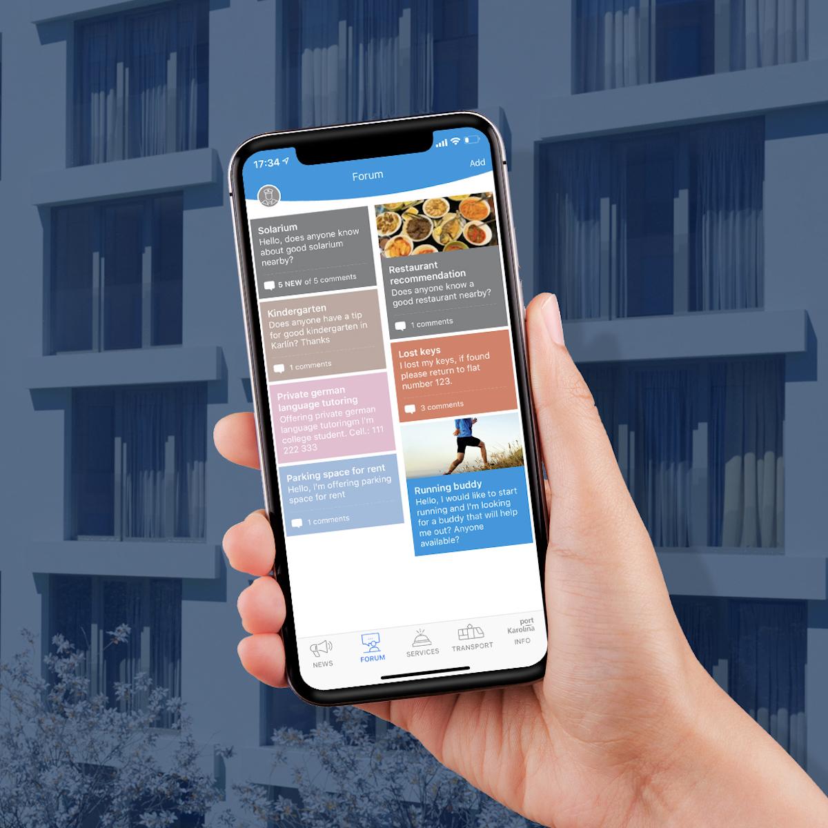Aplikace Port Karolina nabízí i fórum pro obyvatele objektu