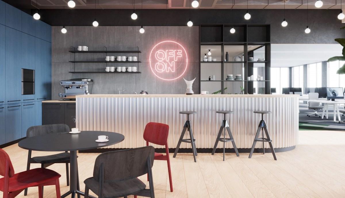 Vizualizace nových kanceláří agentury Kofein: kuchyň a kavárna