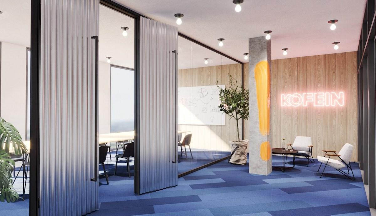 Vizualizace nových kanceláří agentury Kofein: vstup
