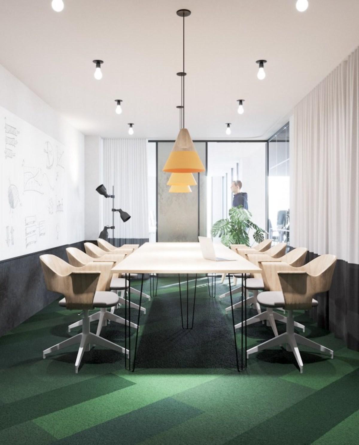 Vizualizace nových kanceláří agentury Kofein: zasedací místnost