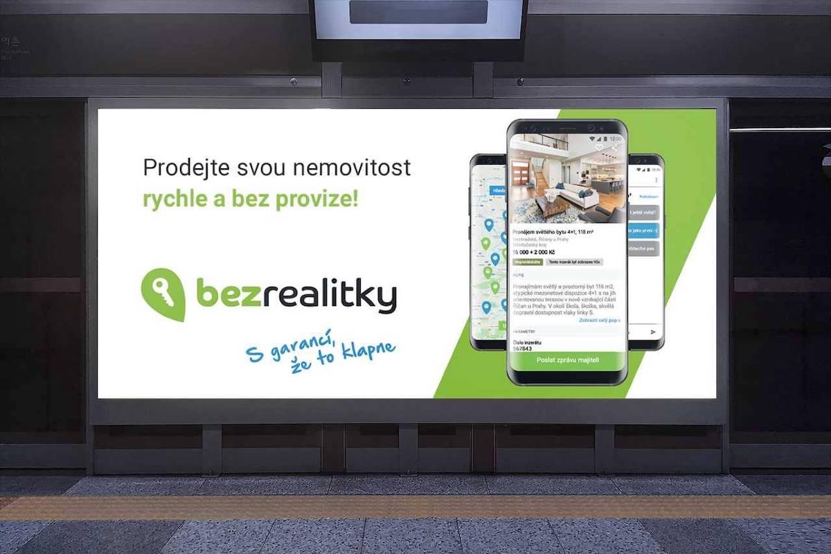 Venkovní reklama portálu Bezrealitky