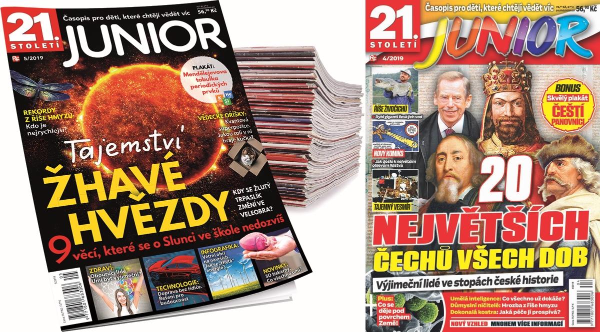 Vlevo nová a vpravo dosavadní podoba časopisu 21. století Junior