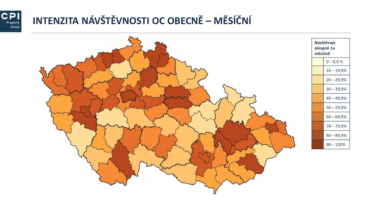 Měsíční intenzita návštěvnosti nákupních center v Česku. Zdroj: CPI, studie MASCOT, červen 2019
