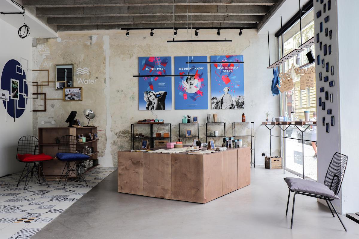 Interiér nové prodejny Minimum Waste ve Zlatnické 12, Praha 1