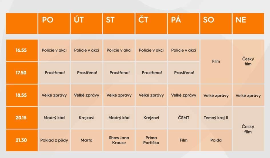 Programové schéma televize Prima pro podzim 2019. Kliknutím zvětšíte