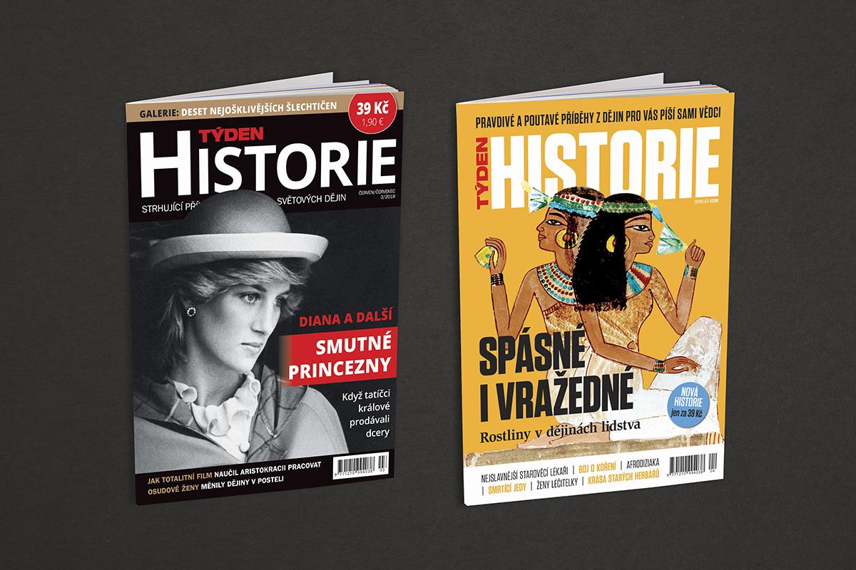 Dosavadní a nová titulní strana časopisu Týden Historie