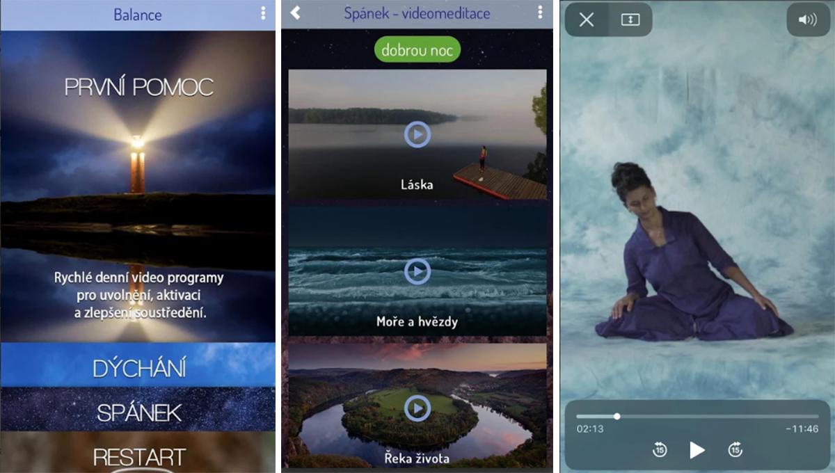 Balance obsahuje instruktážní videa k meditacím nebo mluvené slovo pro usnutí