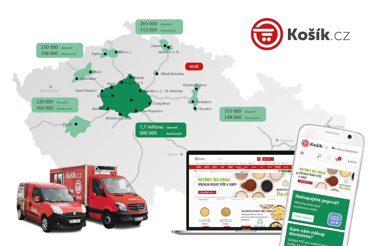 Dosah rozvozu z online supermarketu Košík.cz