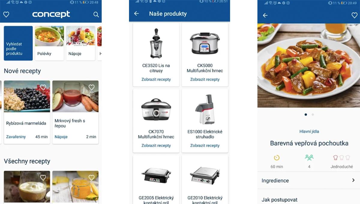 Concept Vaření filtruje recepty podle kategorií i podle výrobků firmy