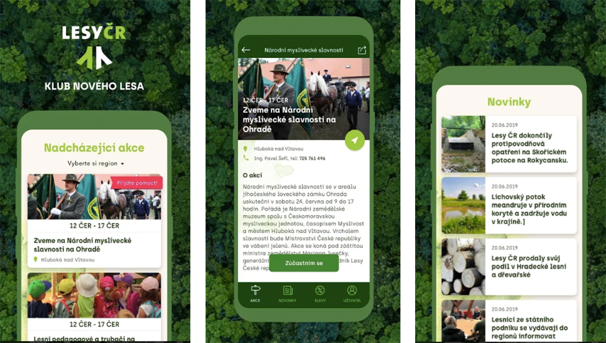Klubová apka přináší informace o akcích i novinky z českých lesů