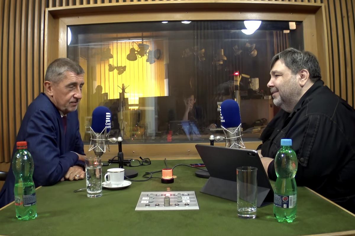 Luboš Xaver Veselý v září při rozhovoru s Andrejem Babišem. Repro: Český rozhlas