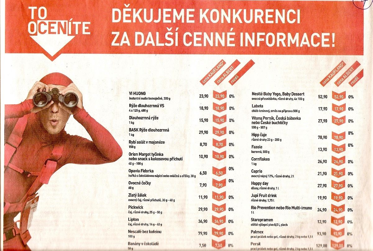 Srovnávací reklama Albertu z roku 2010