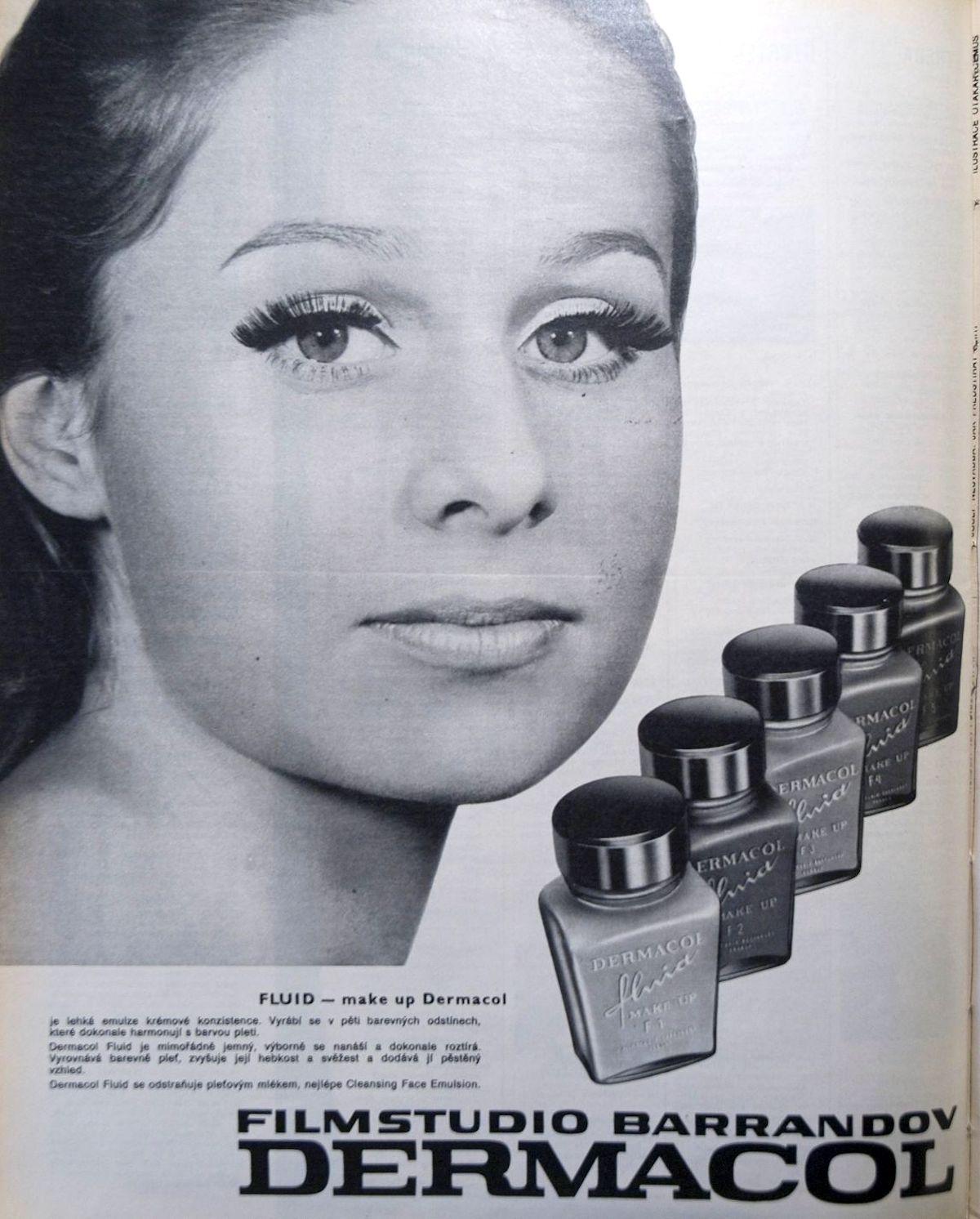 Historické logo i makeup Fluid na reklamě z roku 1972