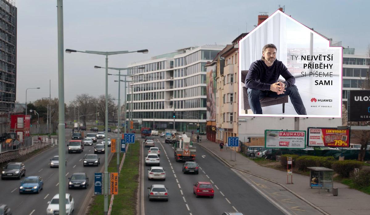 Jaromír Jágr v aktuální kampani značky Huawei: vizualizace pro Prahu