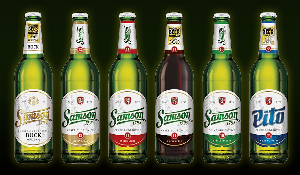 Všechny lahve piva Samson v novém designu