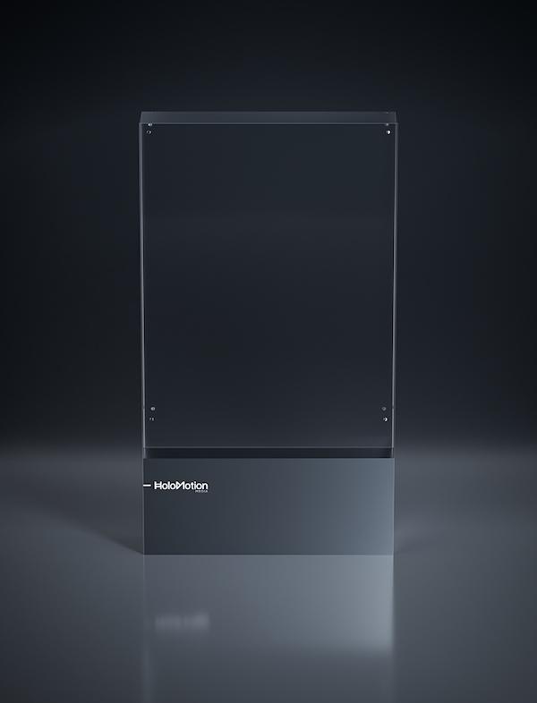 Holopanel neboli HLV (Holographic Light Vitrine) má zobrazovací plochu 111 na 157 centimetrů