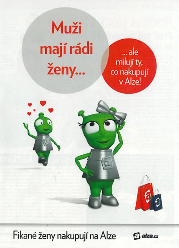 Alzák měl v minulosti v reklamě svou zelenou partnerku
