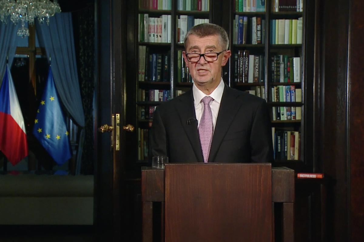 Premiér a předseda ANO Andrej Babiš při projevu 1. ledna 2020. Repro: ČT