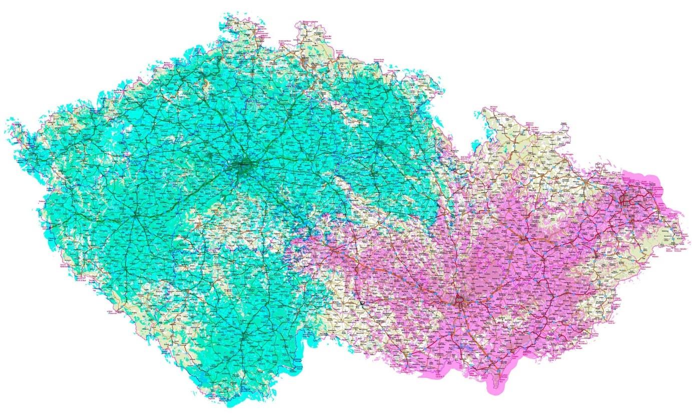 Pokrytí signálem multiplexu ČRo DAB+ a rozdělení multiplexu na začátku roku 2020