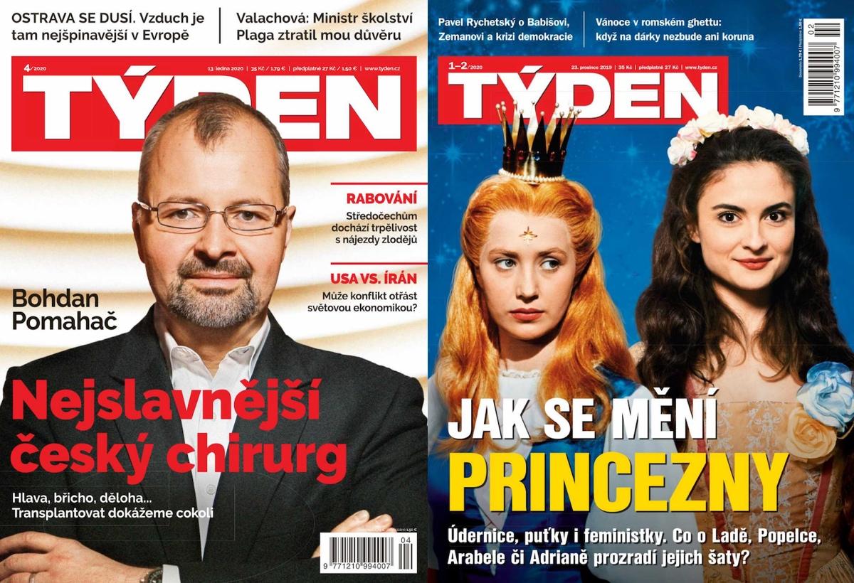 Nová (vlevo) a dosavadní podoba časopisu Týden