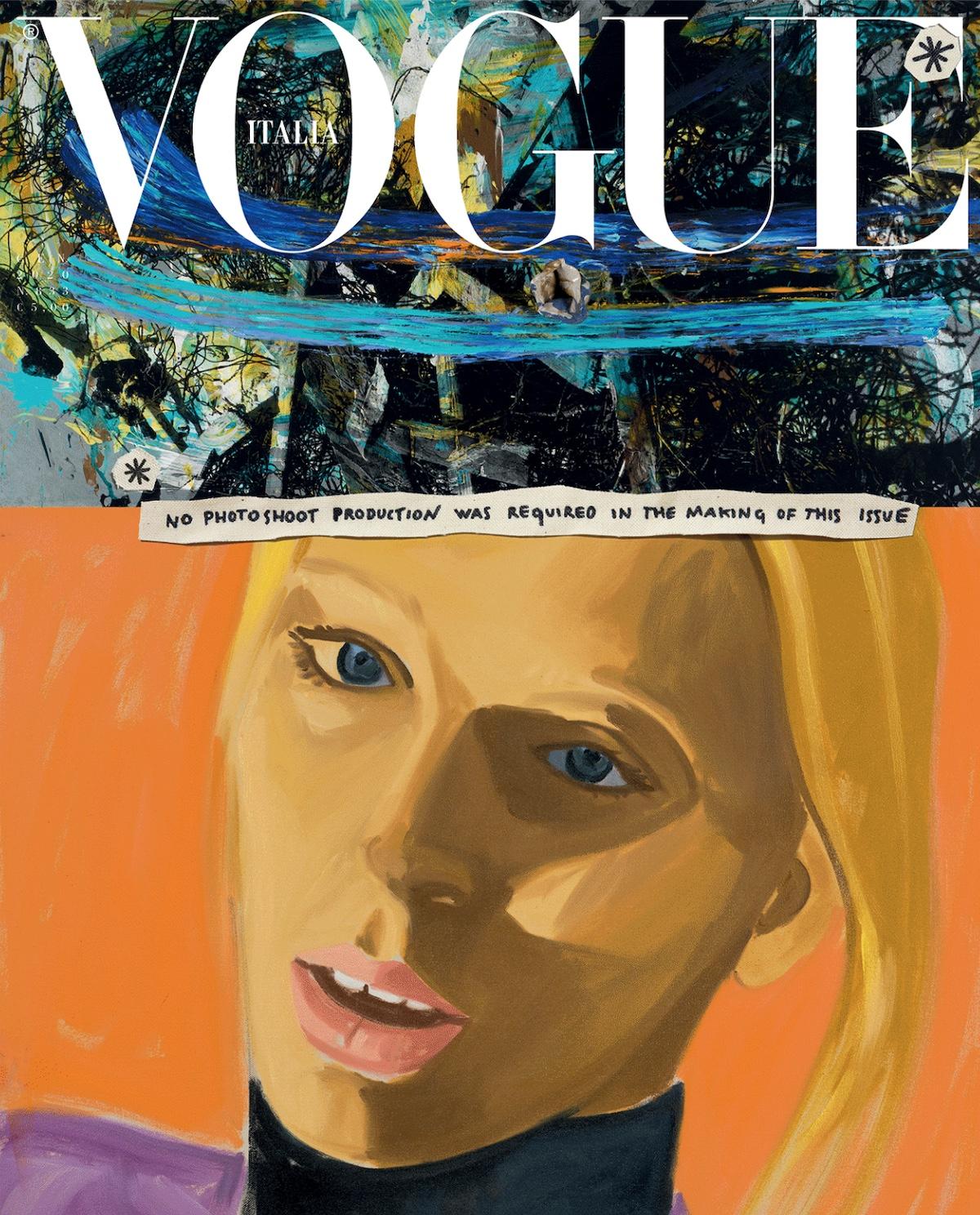 Jedna z osmi ilustrací na titulní straně italské Vogue
