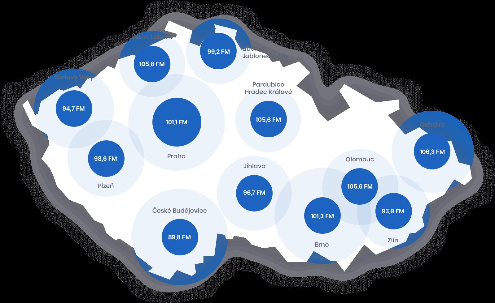 Rádio Zet vysílá na 12 frekvencích ve velkých městech Česka