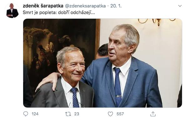 Tweet Zdeňka Šarapatky z 20. ledna 2020