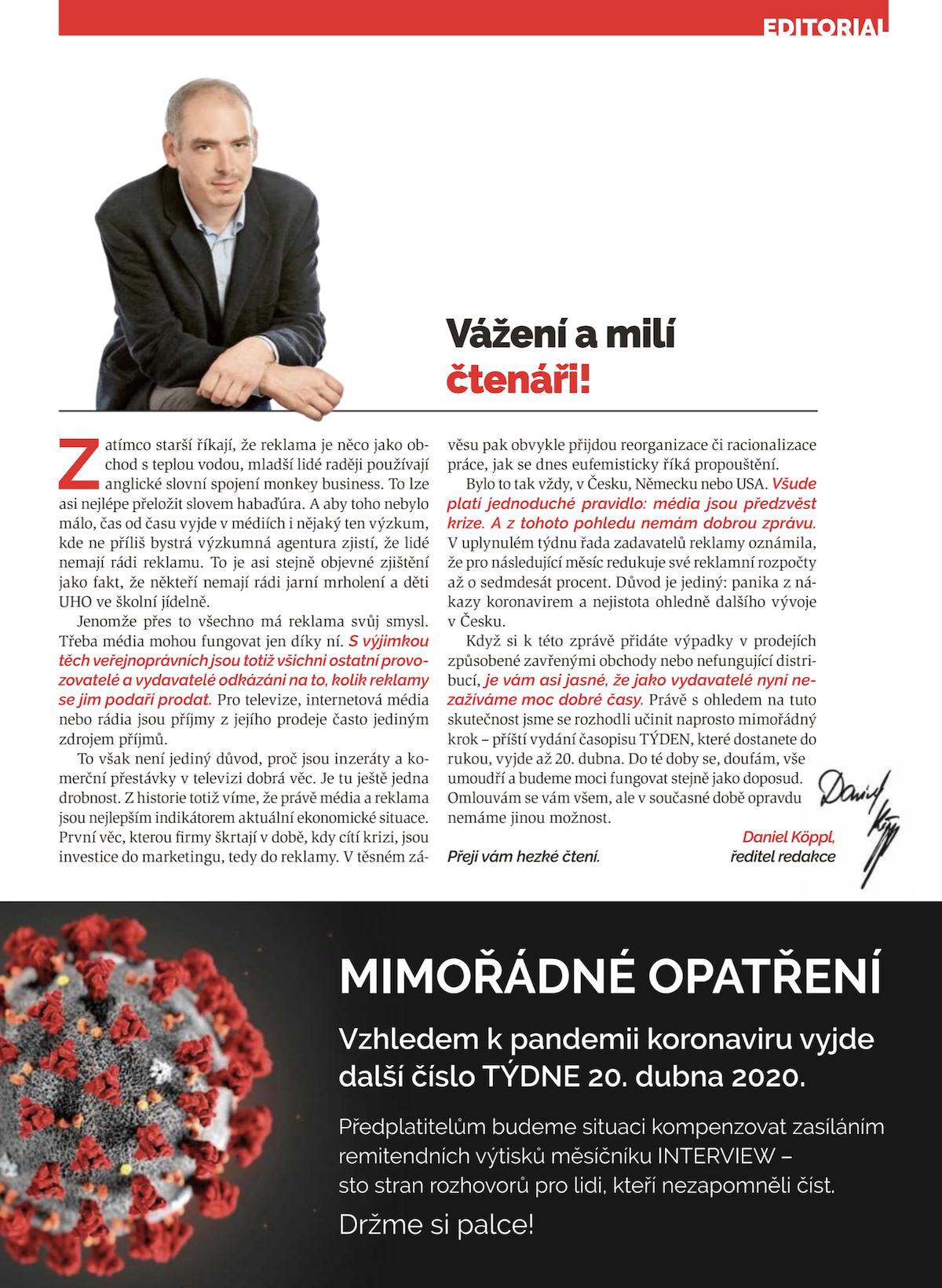 Editorial ředitele redakce Daniela Köppla v aktuálním vydání Týdnu