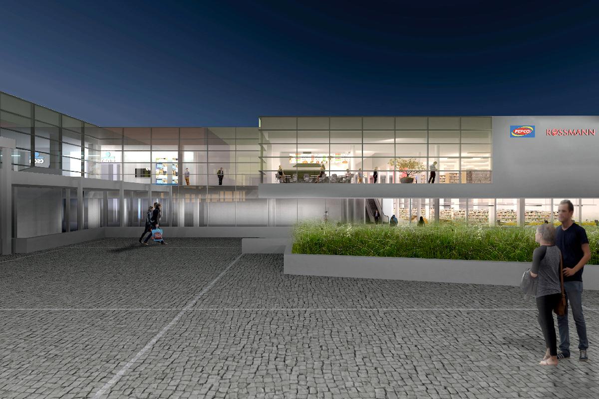 Obchodní centrum Háje: jižní fasáda