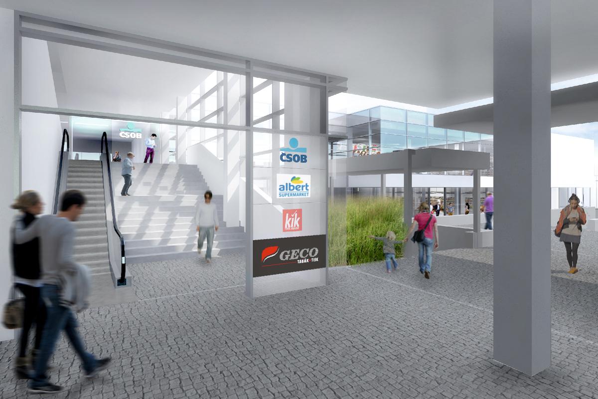 Obchodní centrum Háje: exteriér od vestibulu metra