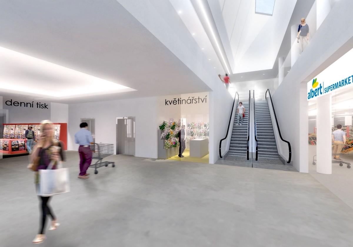 Obchodní centrum Háje: vstup do interiéru z náměstí