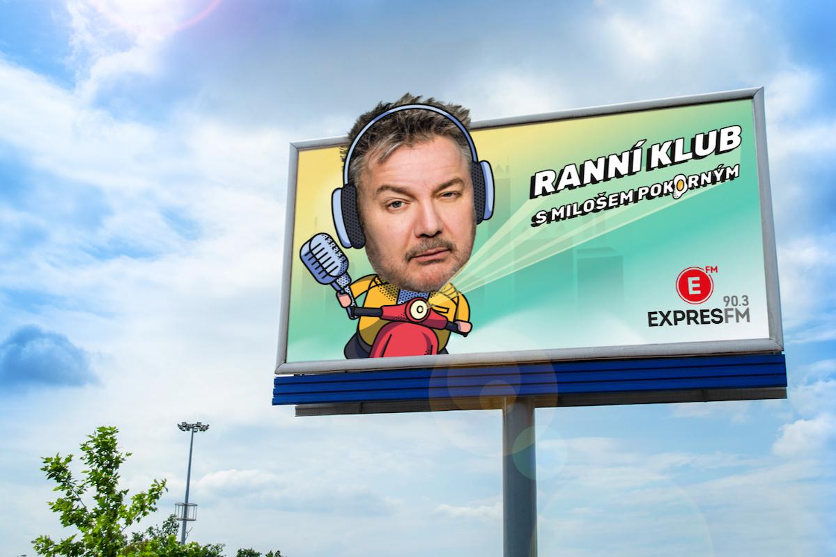 Billboard propagující nový Ranní klub s Milošem Pokorným