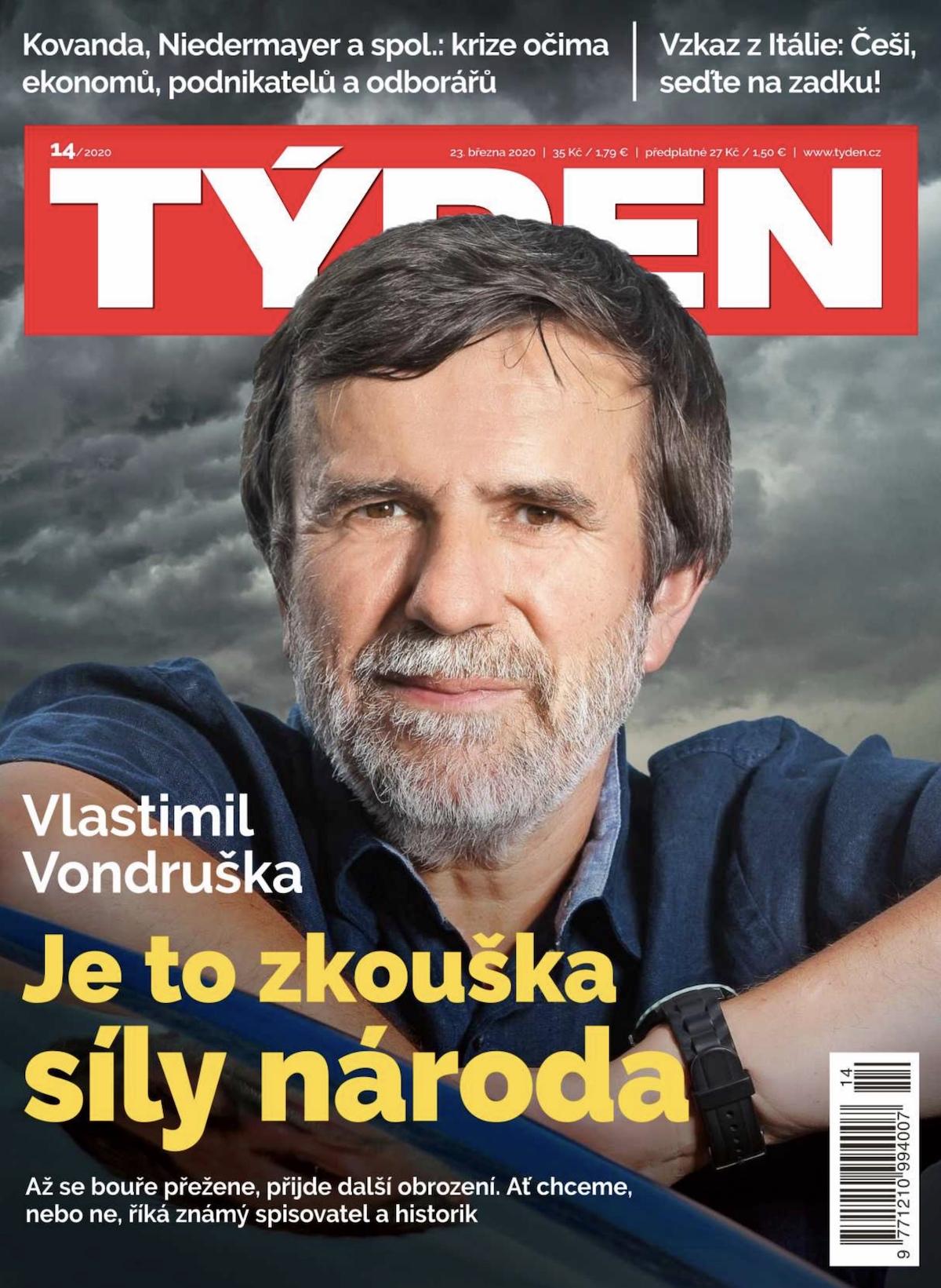 Spisovatel Vladimír Vondruška na titulní straně aktuálního Týdne