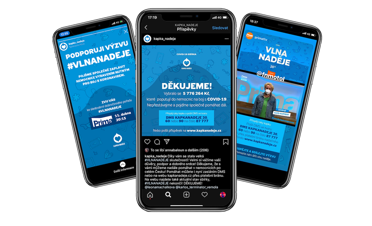 Kampaň Vlna naděje na mobilech