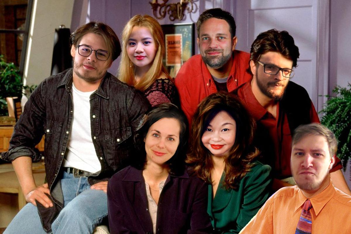 Zleva Anatolij Dzjuba (jako Joey), Trang Leová (Phoebe), Jan Kasper (Ross), Adam Mlýnek (Chandler), Jitka Tikalová (Monika), Kateřina Hanáčková (Rachel) a Marek Dvořáček (Gunther)