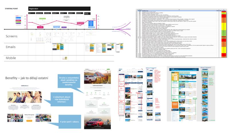 Příklady výstupů z našich UX auditů: analýza uživatelské cesty, ukázky, jak to dělá konkurence, srovnávací analýza s konkurencí. Všechny nálezy a příležitosti jsou v tabulce, dají se filtrovat podle priority a dalších kategorií.