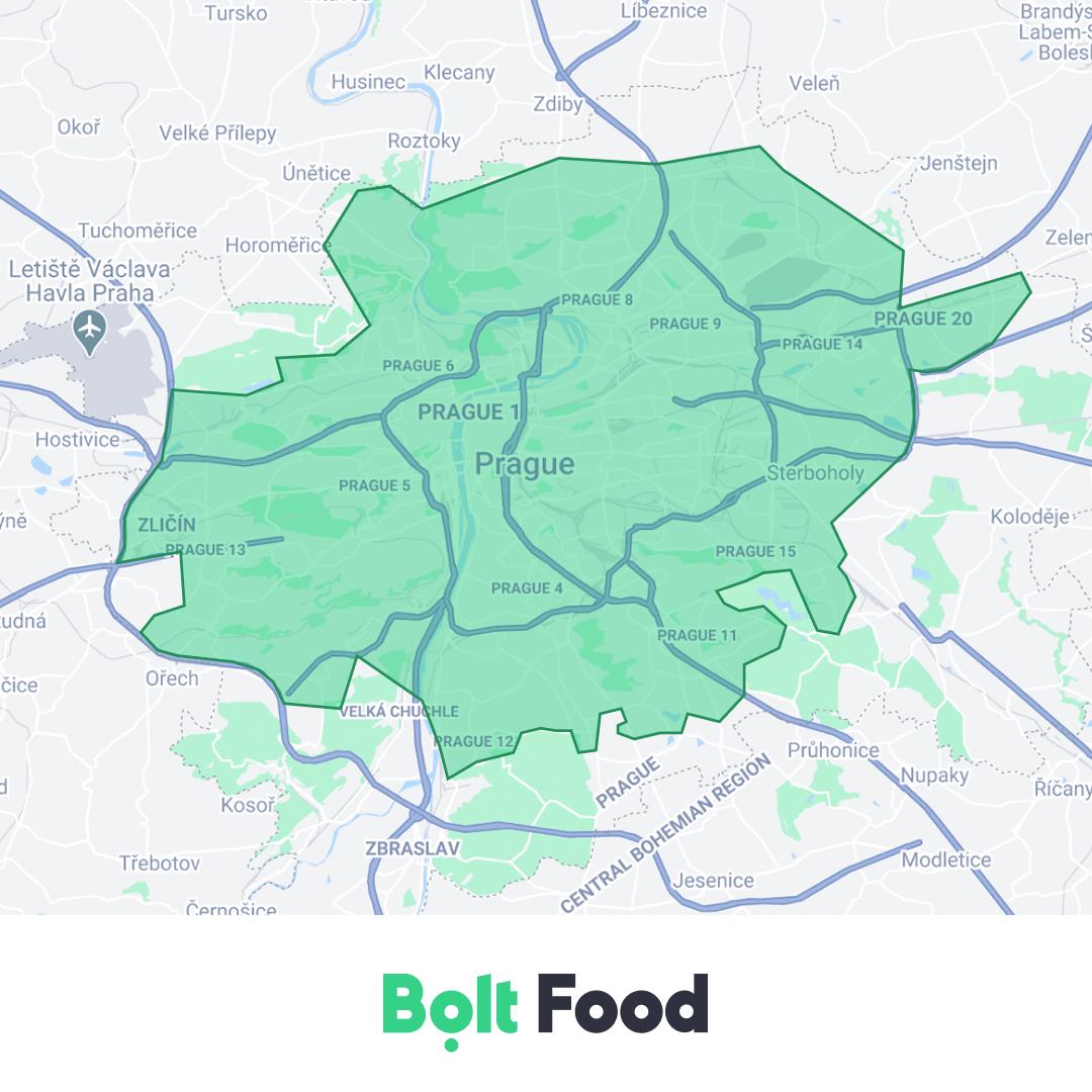 Dosah rozvozové služby Bolt Food