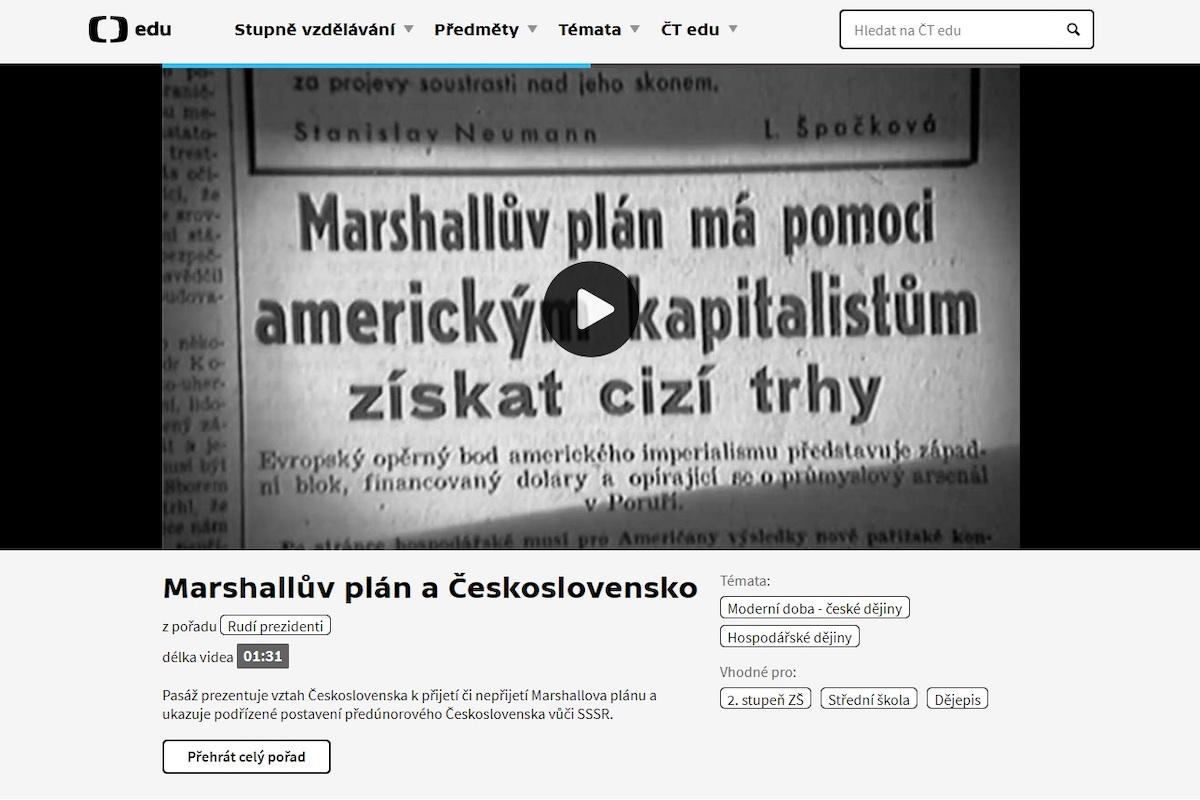 Ukázka z webu ČT Edu