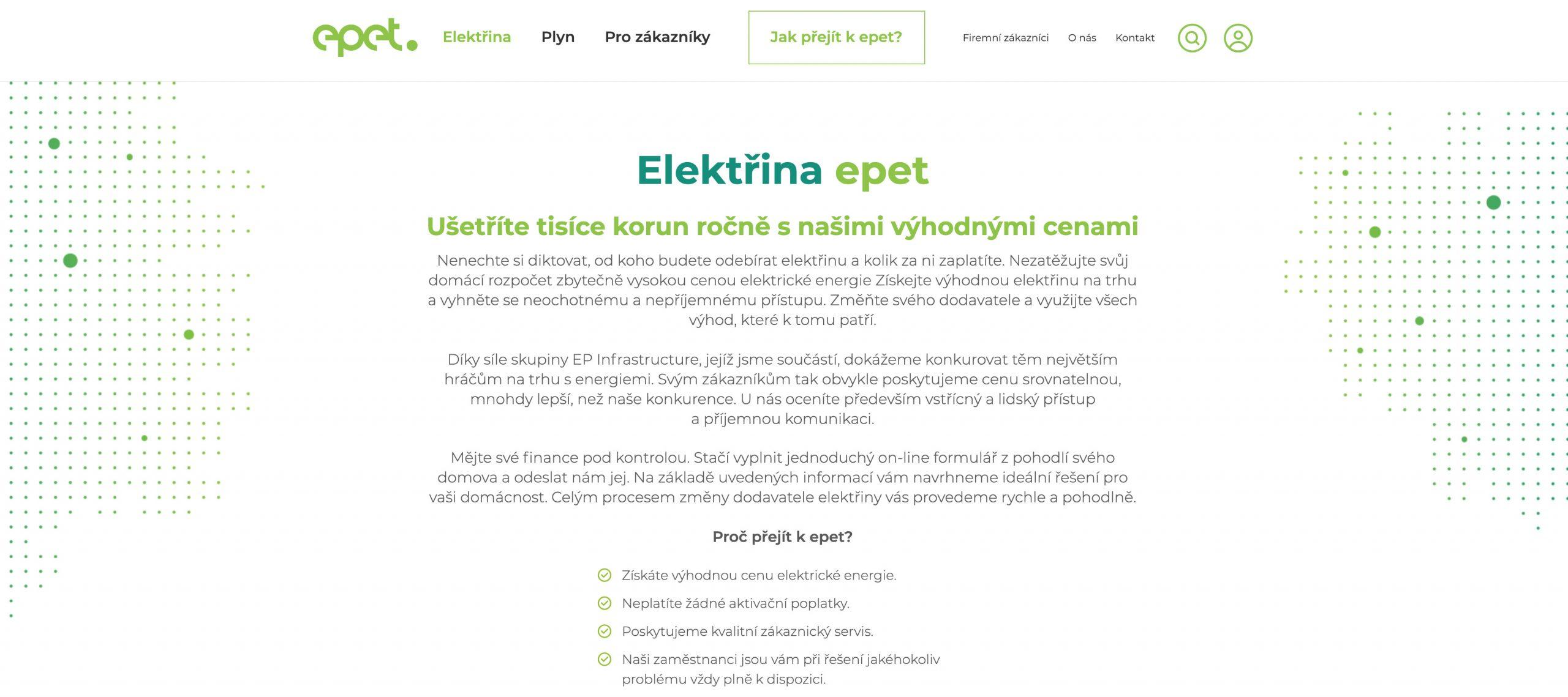 Ukázka webu Epet.cz